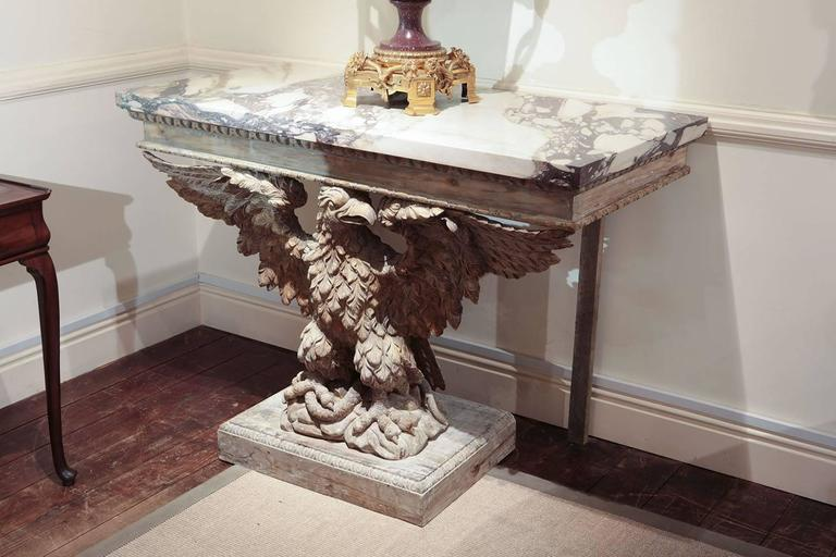 Pair Of 19th Century Carved Pine Eagle Marble Top Console Tables William Kent For Sale At 1stdibs