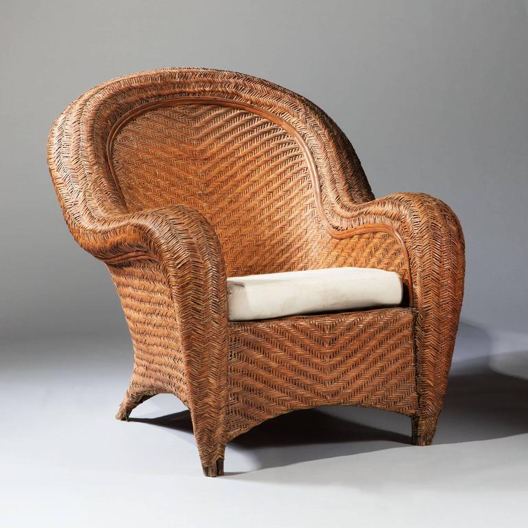 Impressive oversized wicker armchair for sale at 1stdibs for Oversized armchair
