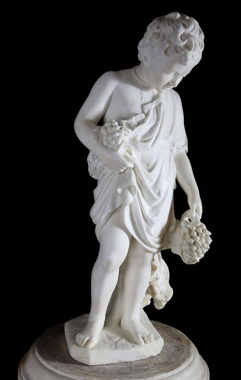 Important and extremely rare 19th century carved marble figure of young Roman God Bacchus (also known as Dionysus in Greek) as autumn by Professore Giuseppe Lazzerini, circa 1862.