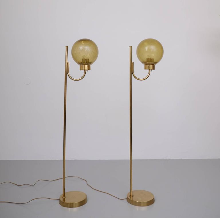 Scandinavian Modern Pair of Brass Floor Lamps by Bergboms Model G-118 For Sale
