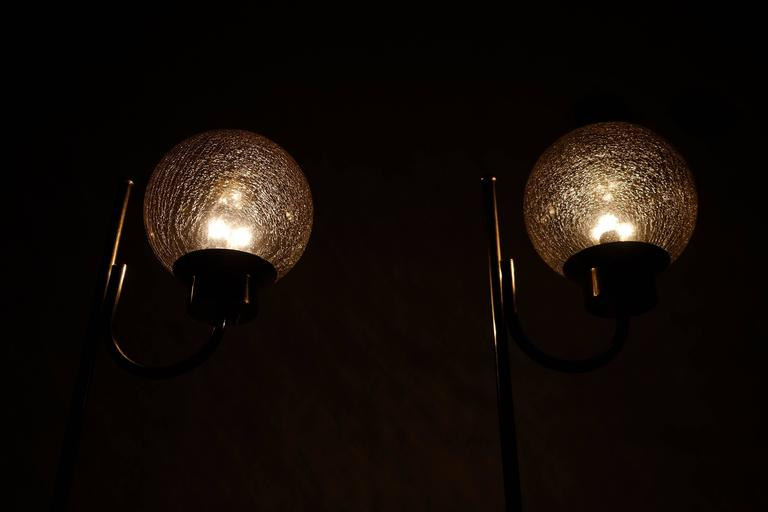 Mid-20th Century Pair of Brass Floor Lamps by Bergboms Model G-118 For Sale