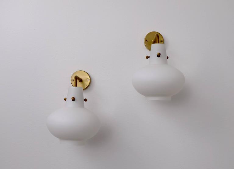 Brass Rare Set of Ten Wall Lamps by Hans Bergström For Sale