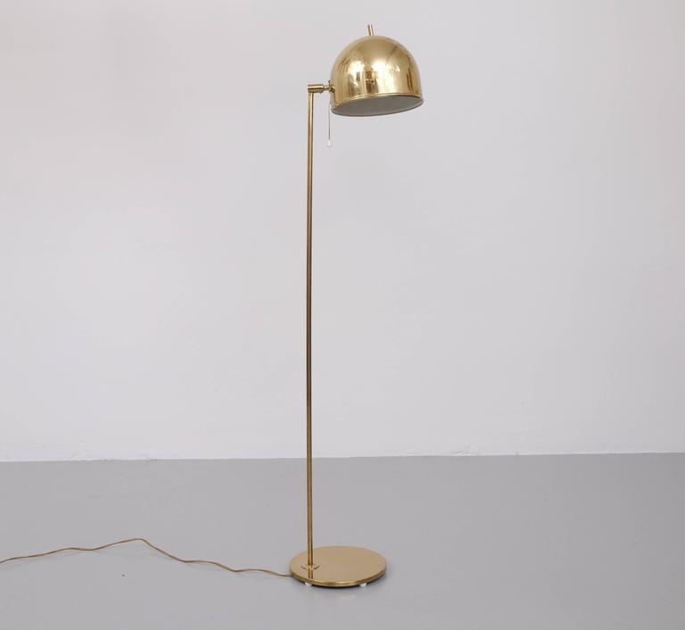 Scandinavian Modern Brass Floor Lamp G-075 by Bergboms, 1960s For Sale