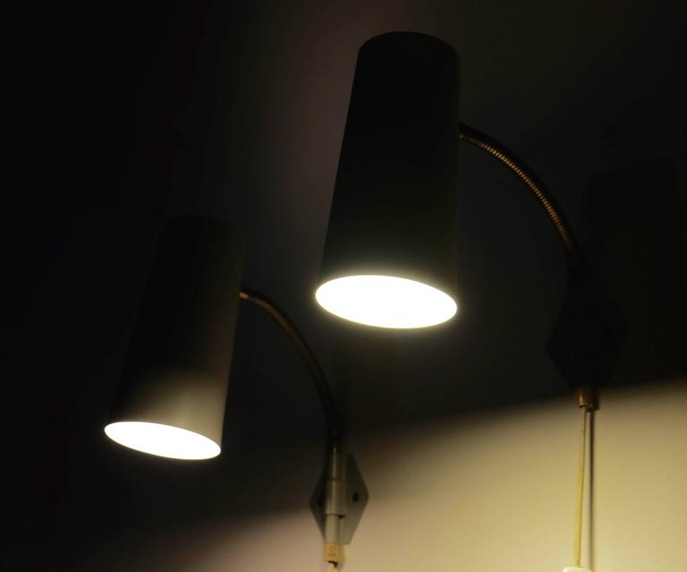 Mid-20th Century Pair of 1950s Swedish Wall Lights For Sale