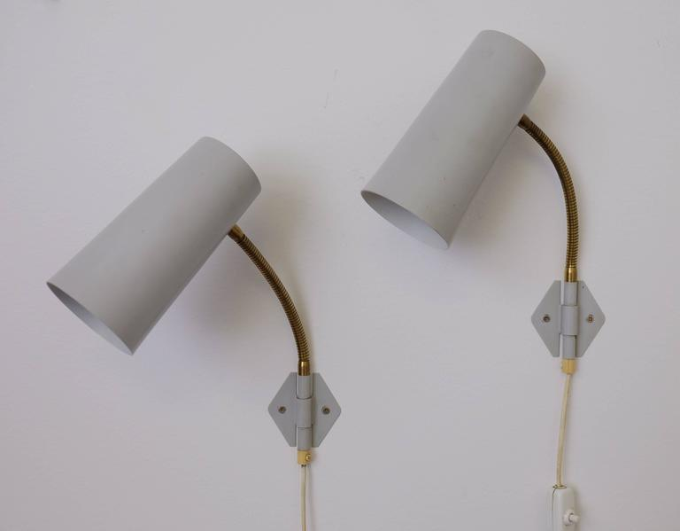 Pair of 1950s Swedish Wall Lights In Good Condition For Sale In Stockholm, SE