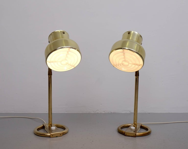 Swedish Pair of Brass Table Lamps