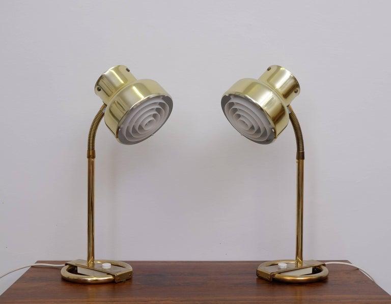 Scandinavian Modern Pair of Brass Table Lamps