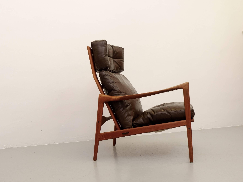 Scandinavian Modern Ib Kofod Larsen High Back Easy Chair Model Örenäs,  1960s For Sale