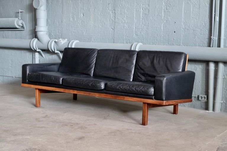Swedish Black Leather Sofa