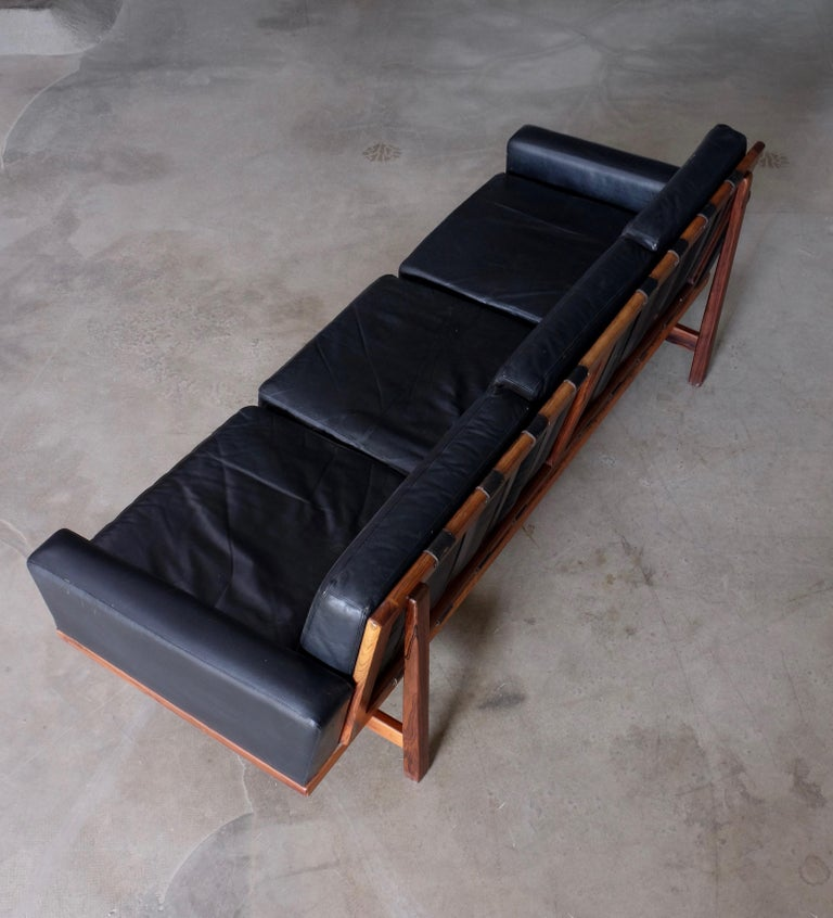Scandinavian Modern Black Leather Sofa