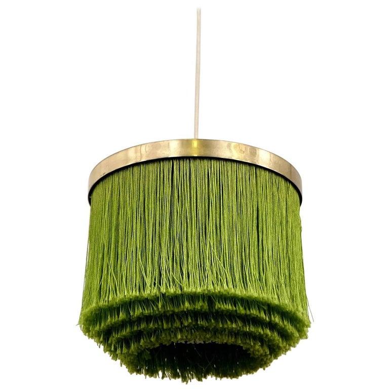 Hans-Agne Jakobsson Green Silk Fringe Pendant, 1960s For Sale