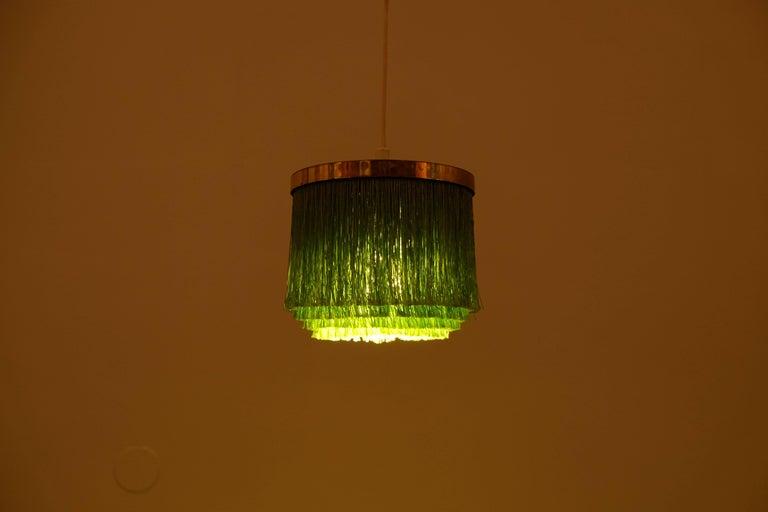 Scandinavian Modern Hans-Agne Jakobsson Green Silk Fringe Pendant, 1960s For Sale