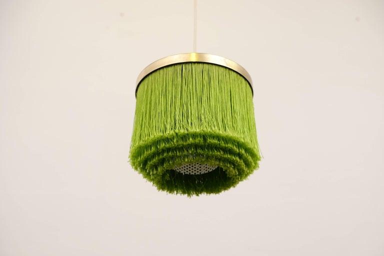 Swedish Hans-Agne Jakobsson Green Silk Fringe Pendant, 1960s For Sale