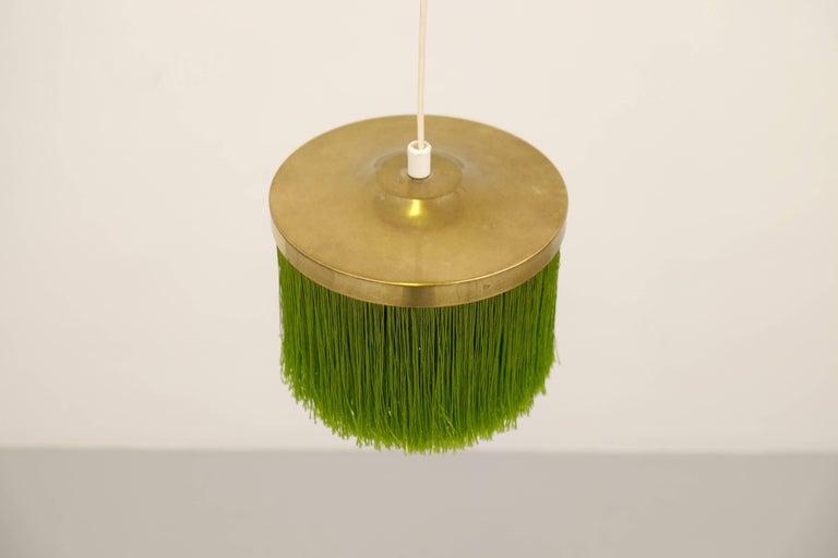 Hans-Agne Jakobsson Green Silk Fringe Pendant, 1960s In Excellent Condition For Sale In Stockholm, SE