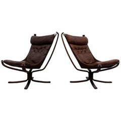 Pair of High Back Falcon Chairs by Sigurd Ressell, Norway, 1970s