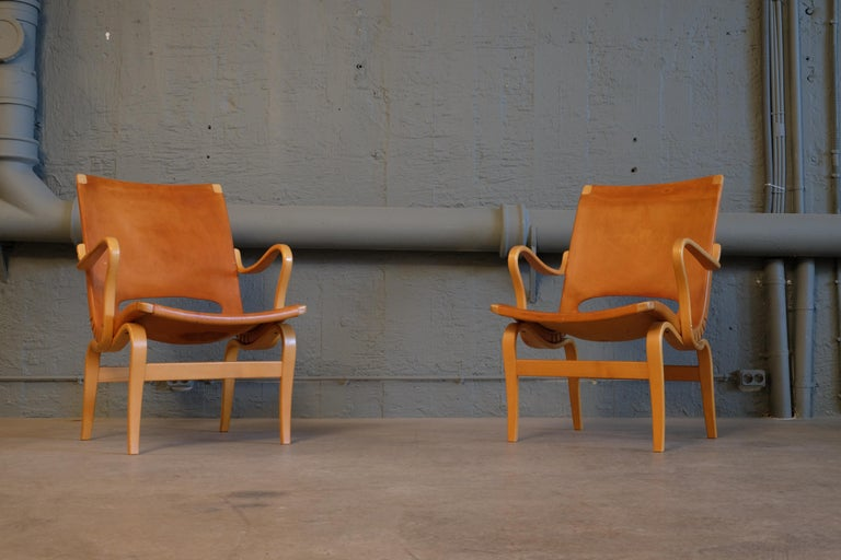 Mid-20th Century Pair of Bruno Mathsson Leather Eva Easy Chairs, 1960s For Sale