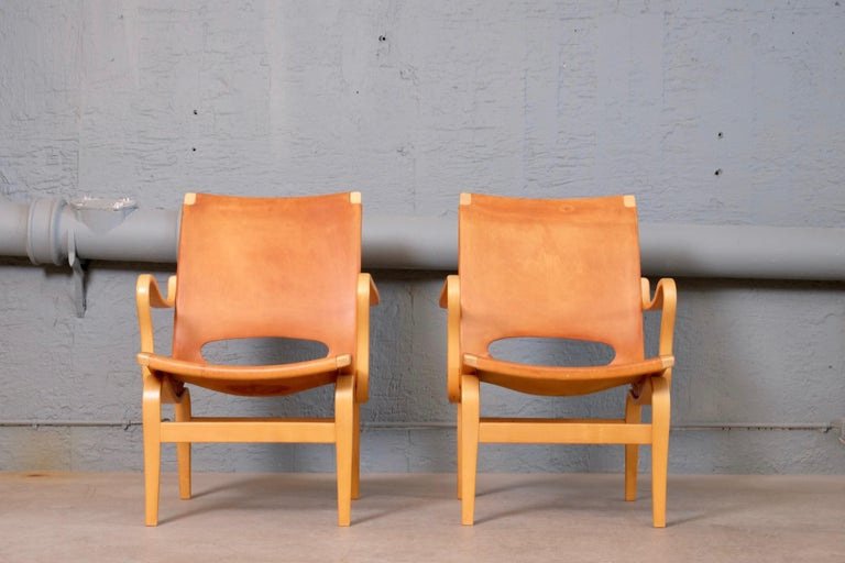 Swedish Pair of Bruno Mathsson Leather Eva Easy Chairs, 1960s For Sale