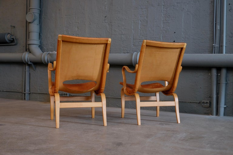 Pair of Bruno Mathsson Leather Eva Easy Chairs, 1960s For Sale 4