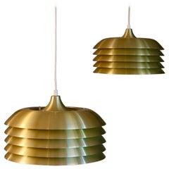 Pair of Hans-Agne Jakobsson Brass Pendants, 1960s