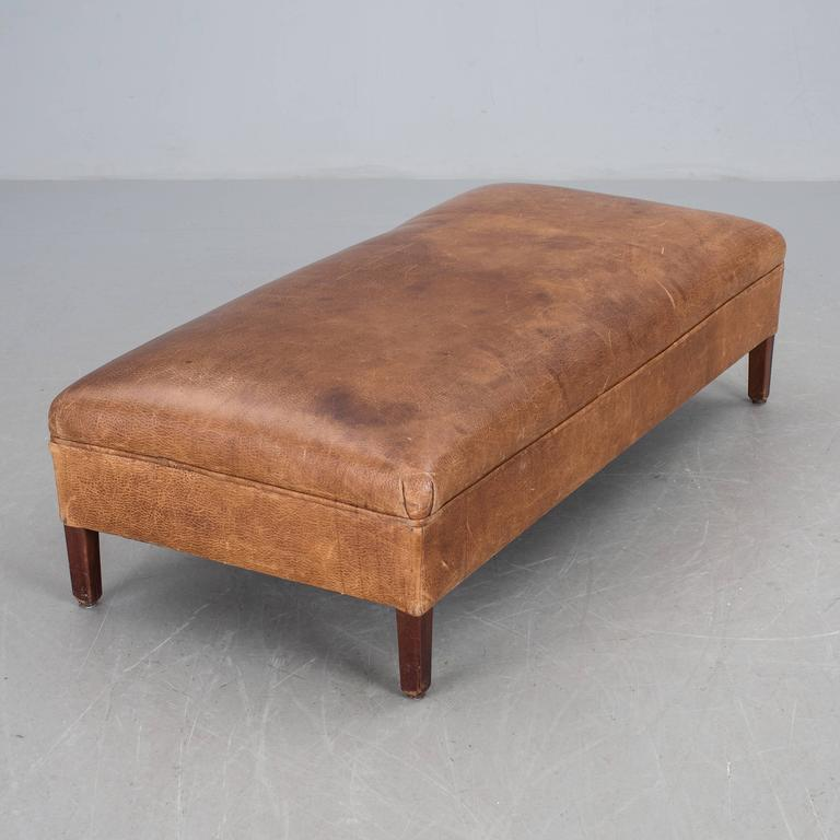 Danish Leather Bench, 1930s 3