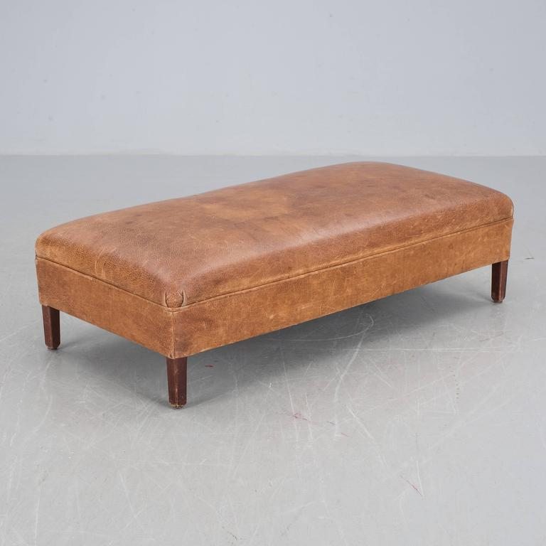 Danish Leather Bench, 1930s 2