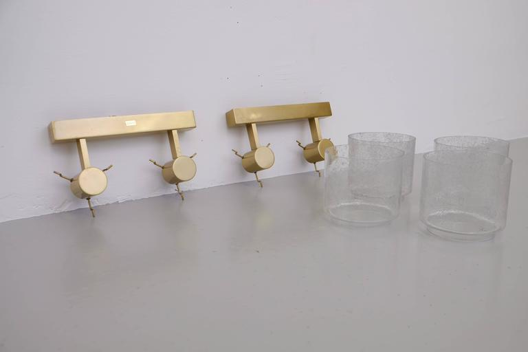 Mid-20th Century Pair of Swedish Brass Wall Lamps by Boréns, 1960s For Sale