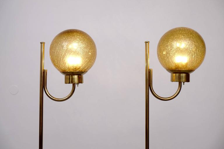 Swedish Pair of Brass Floor Lamps by Bergboms Model G-118 For Sale