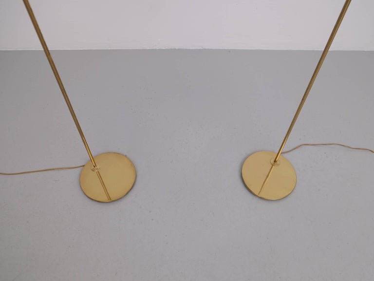 Brass Pair of Floor Lamps, Model G-075, Bergboms, Sweden, 1960s For Sale