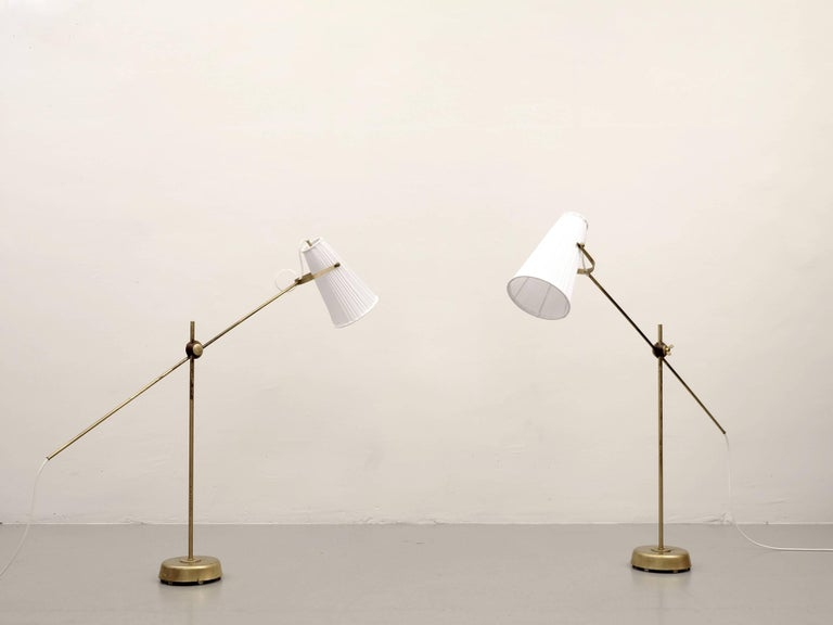 Brass Pair of Floor Lamps by Hans Bergström, 1950s For Sale