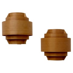 Pair of Pine Wall Lamps by Hans-Agne Jakobsson
