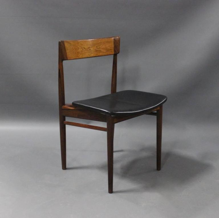 Danish Pair of Chairs, Model 39, by Henry Rosengren Hansen, 1960s For Sale
