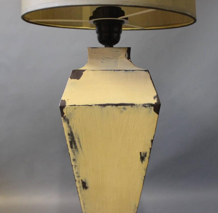 Tall Tablelamps of Painted Metal with Grey Lamp Shades, 1960s In Good Condition For Sale In Lejre, DK