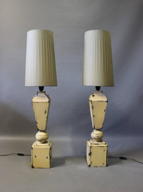 Other Tall Tablelamps of Painted Metal with Grey Lamp Shades, 1960s For Sale