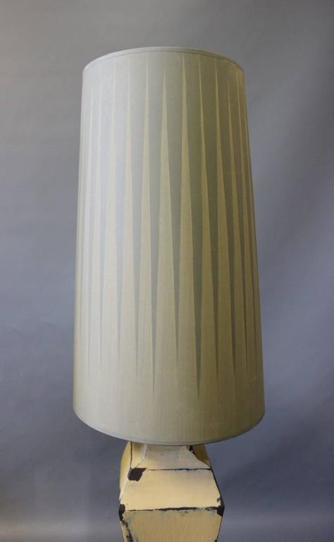 Danish Tall Tablelamps of Painted Metal with Grey Lamp Shades, 1960s For Sale