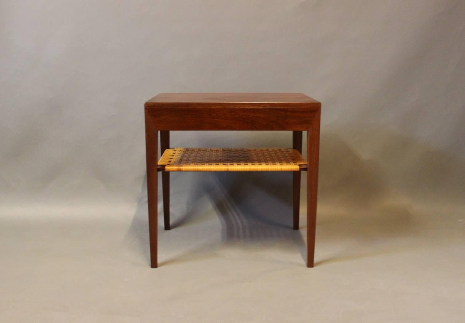 Small Bedside Table In Dark Wood By Severin Hansen And Haslev, 1960s