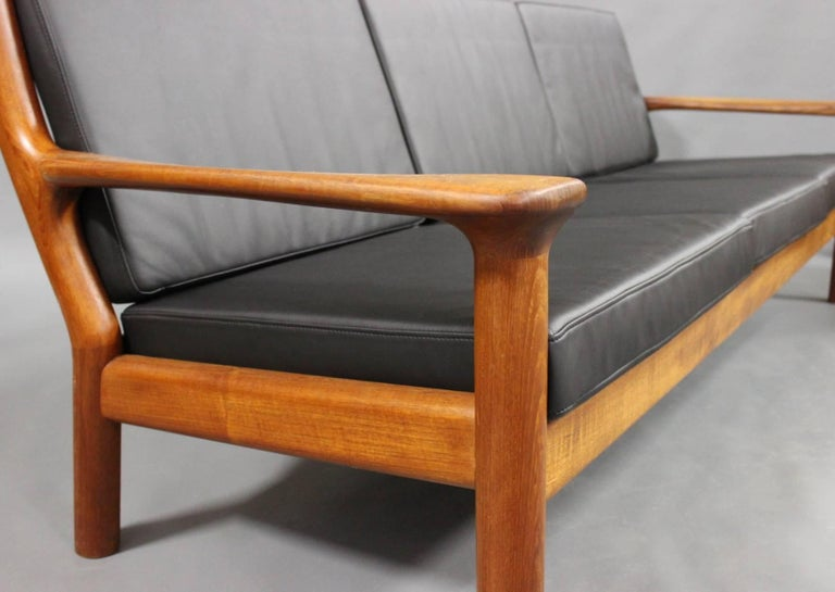 Leather Three-Seat Sofa in Teak by Juul Kristensen and Glostrup Furniture, 1960s For Sale