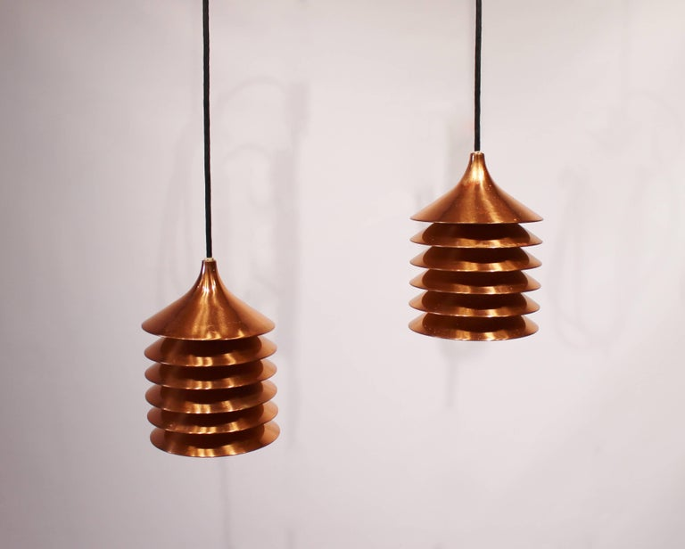 Scandinavian Modern Pair of Copper Pendants of Danish Design from the 1960s For Sale