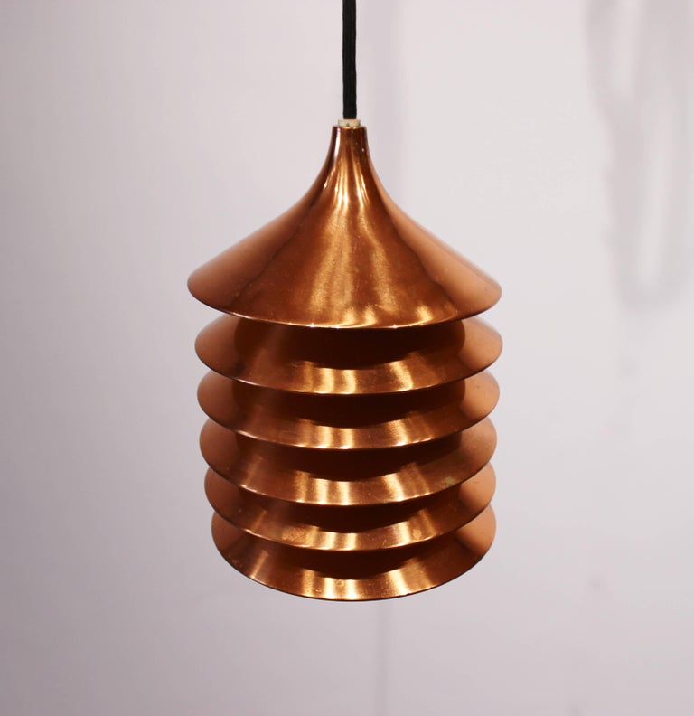 Pair of Copper Pendants of Danish Design from the 1960s In Good Condition For Sale In Lejre, DK