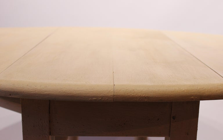 Wood Antique White Painted Folding Table from Denmark, circa 1880s For Sale