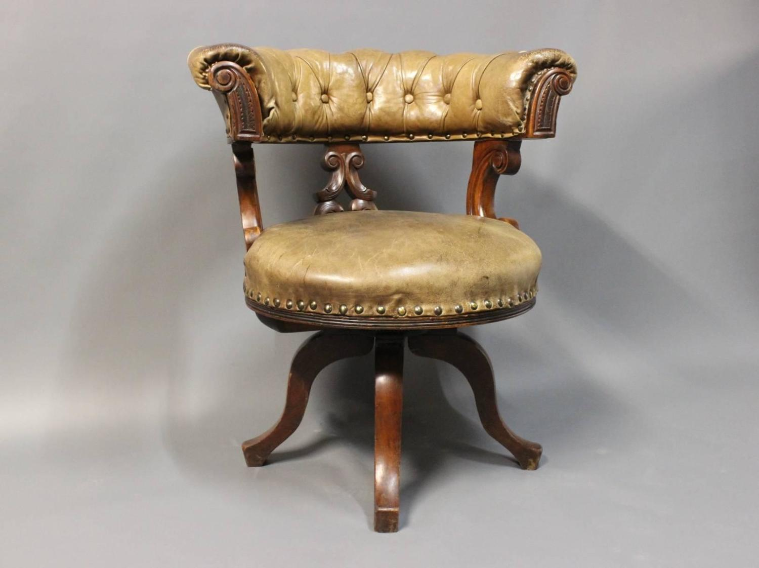 Office Chair In Mahogany And Original Patinated Leather
