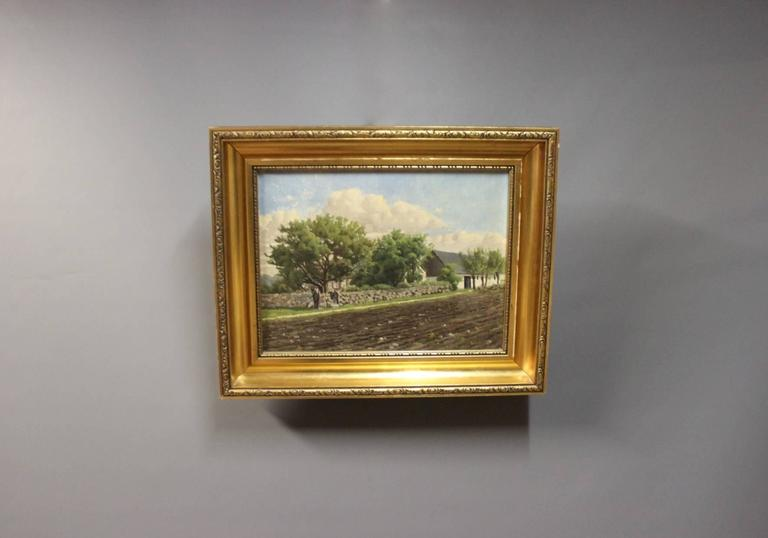 Oil painting on canvas of Denmark out in the country signed Walseth by Niels Walseth, 1914-2001.