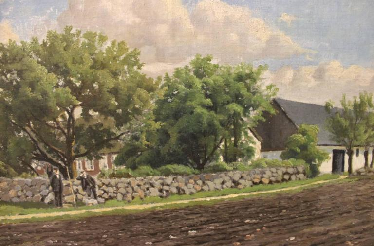 Scandinavian Modern Oil Painting of Denmark Out in the Country by Niels Walseth For Sale