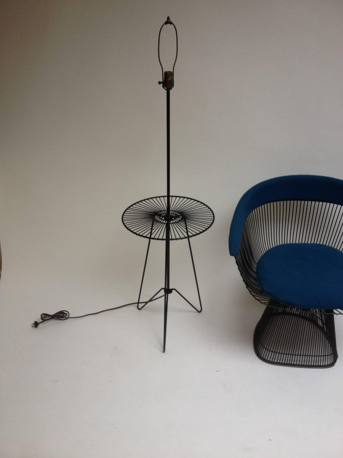1950s three legged metal floor lamp with circular table for sale at. Black Bedroom Furniture Sets. Home Design Ideas