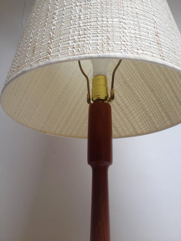 handsome mid century modern three legged teak floor lamp. Black Bedroom Furniture Sets. Home Design Ideas