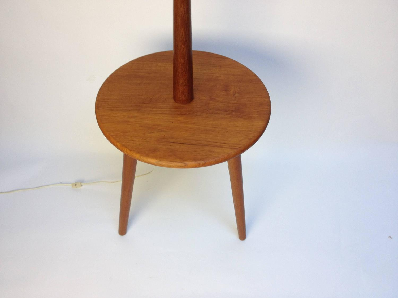 1960s solid teak three legged floor lamp with table at 1stdibs. Black Bedroom Furniture Sets. Home Design Ideas