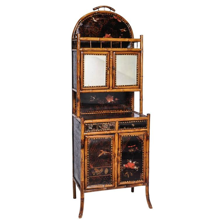 Superb English Bamboo Side Cabinet For Sale