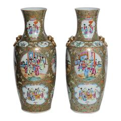 Pair of 19th Century Rose Mandarin Vases