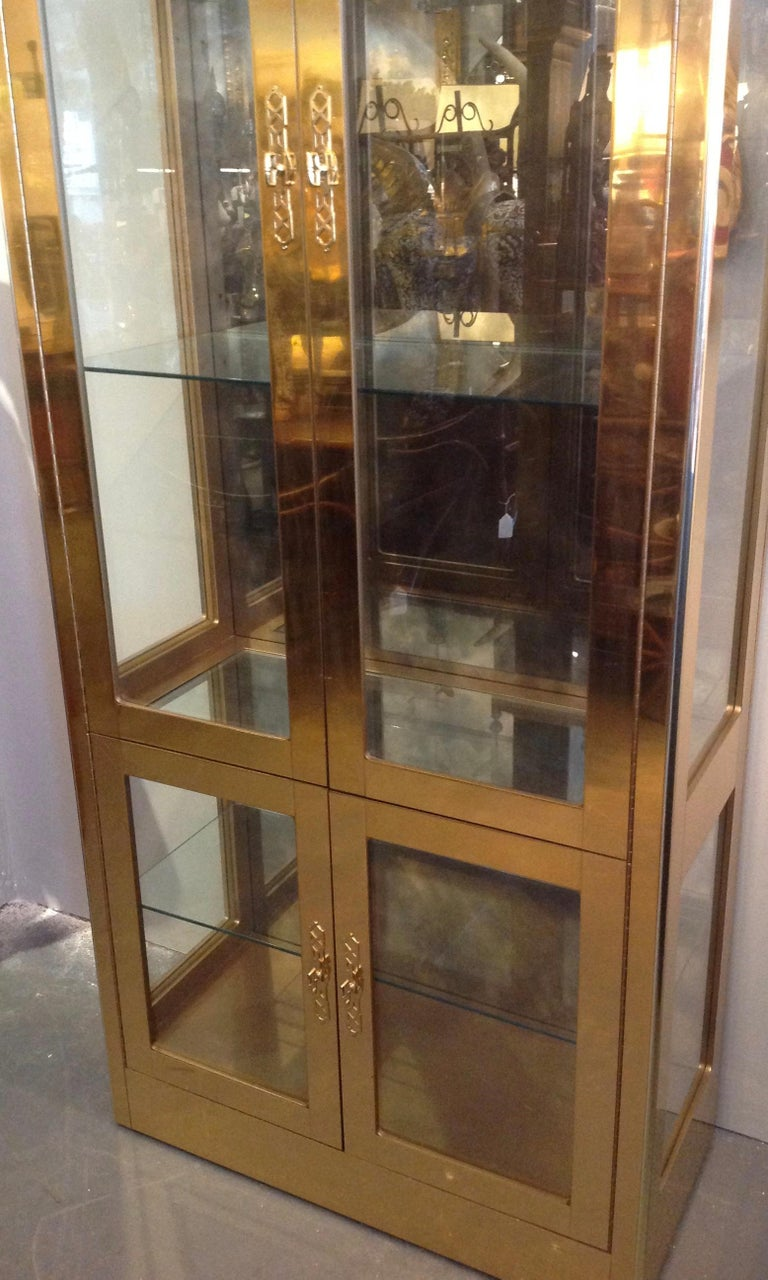 American Signed Mastercraft Midcentury Brass Vitrine or Display Cabinet For Sale