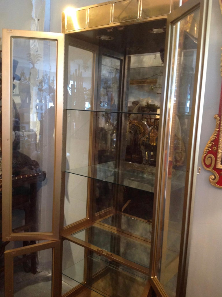 Signed Mastercraft Midcentury Brass Vitrine or Display Cabinet For Sale 6