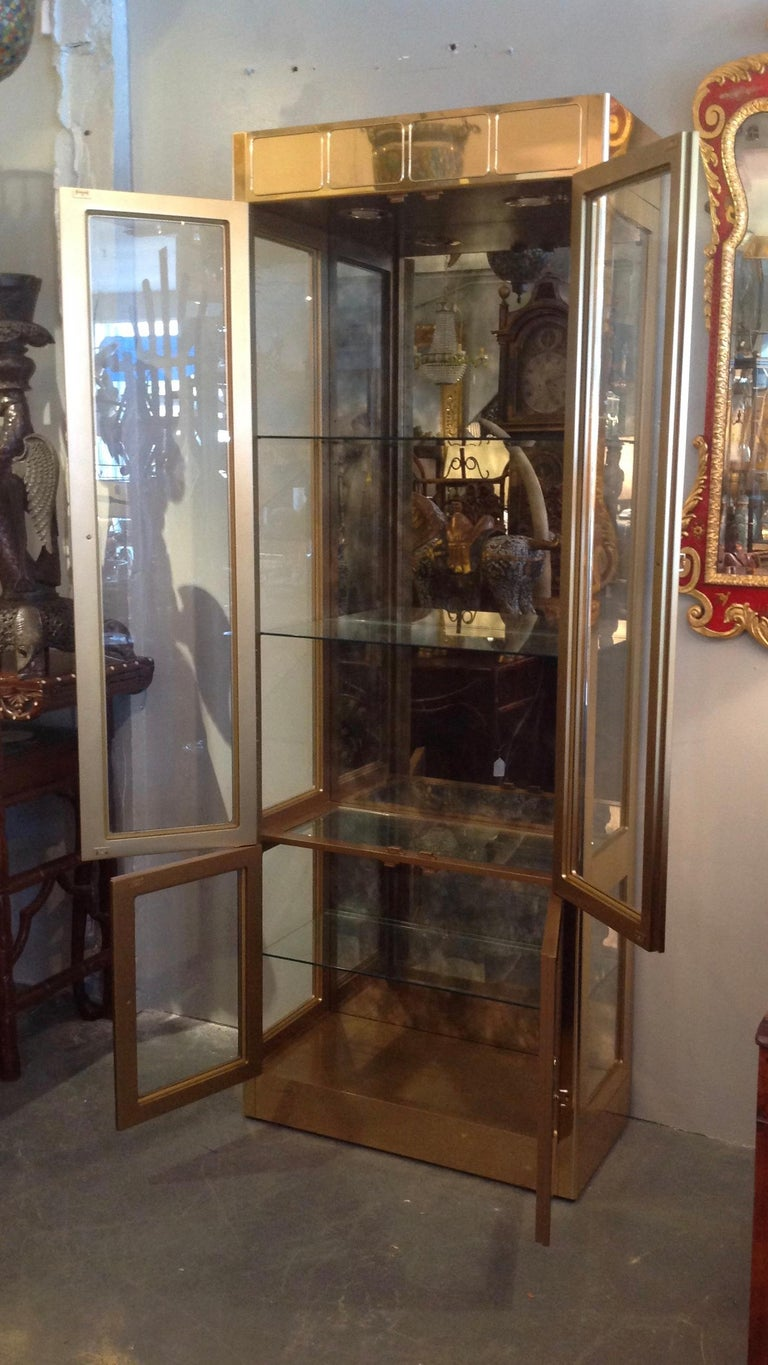20th Century Signed Mastercraft Midcentury Brass Vitrine or Display Cabinet For Sale